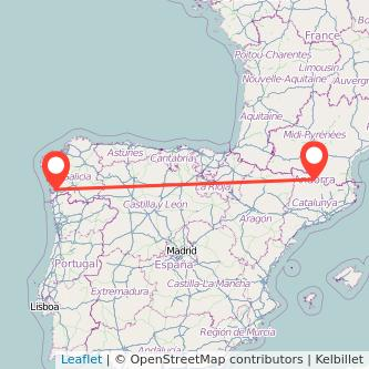 Mapa del viaje Vigo Andorra en bus