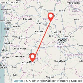 Mapa del viaje Valladolid Mérida en bus