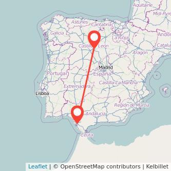 Mapa del viaje Valladolid Jerez de la Frontera en tren
