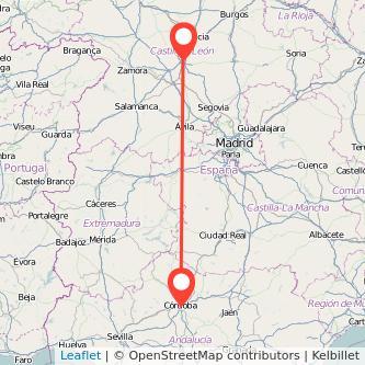 Mapa del viaje Valladolid Córdoba en tren