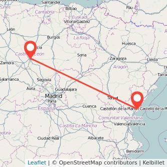 Mapa del viaje Valladolid Castellón en tren