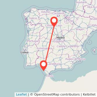 Mapa del viaje Valladolid Cádiz en tren