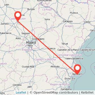 Mapa del viaje Valladolid Benidorm en bus