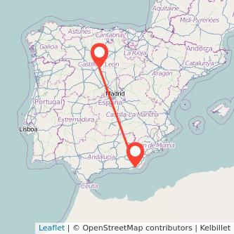 Mapa del viaje Valladolid Almería en tren