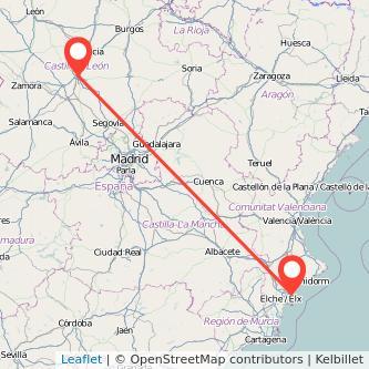 Mapa del viaje Valladolid Alicante en tren