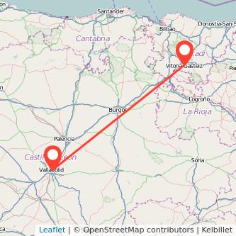 Mapa del viaje Valladolid Vitoria-Gasteiz en tren