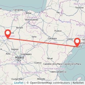 Mapa del viaje Valladolid Tarragona en tren
