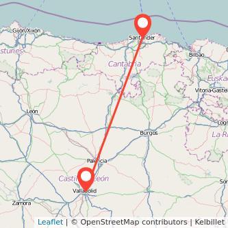 Mapa del viaje Valladolid Santander en bus