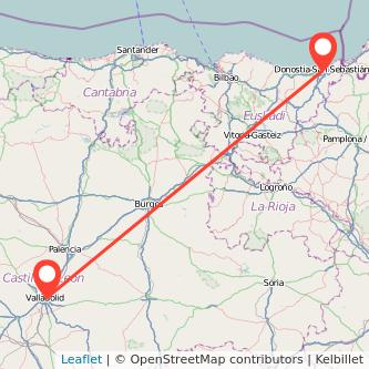 Mapa del viaje Valladolid San Sebastián en bus