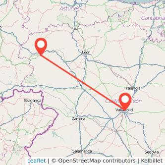 Mapa del viaje Valladolid Ponferrada en bus