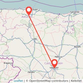 Mapa del viaje Valladolid Oviedo en tren