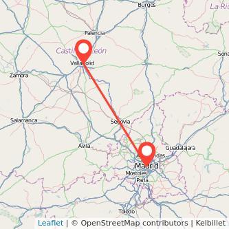 Mapa del viaje Valladolid Madrid en bus