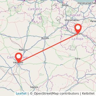 Mapa del viaje Valladolid Logroño en tren