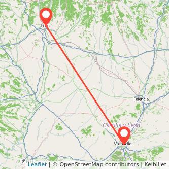 Mapa del viaje Valladolid León en tren