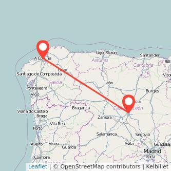 Mapa del viaje Valladolid A Coruña en bus
