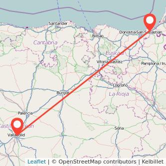 Mapa del viaje Valladolid Irún en bus