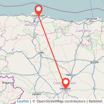 Mapa del viaje Valladolid Gijón en tren