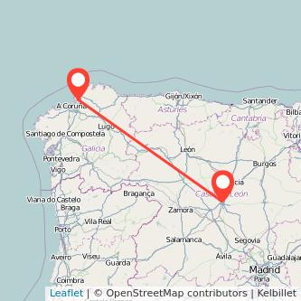 Mapa del viaje Valladolid Ferrol en tren