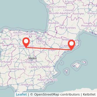 Mapa del viaje Valladolid Barcelona en bus