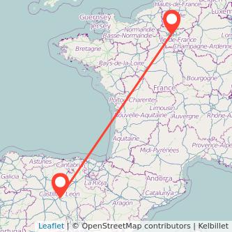 Mapa del viaje Valladolid París en bus