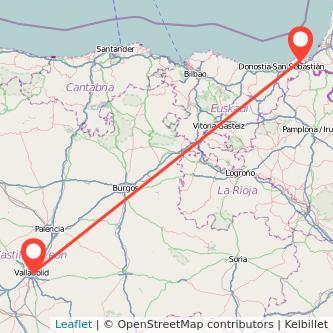 Mapa del viaje Valladolid Hendaya en tren