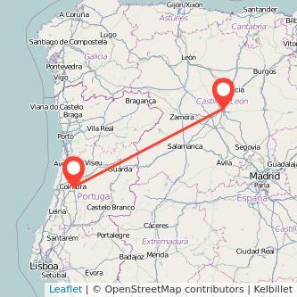 Mapa del viaje Valladolid Coimbra en bus