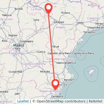 Mapa del viaje Tudela Murcia en bus