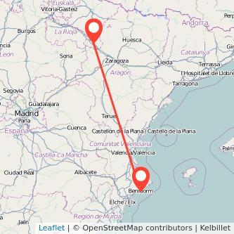 Mapa del viaje Tudela Benidorm en bus