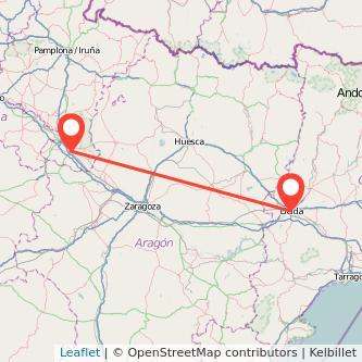 Mapa del viaje Tudela Lérida en bus