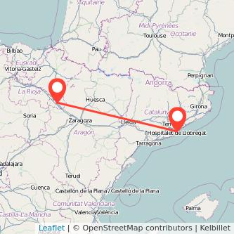 Mapa del viaje Tudela Barcelona en bus