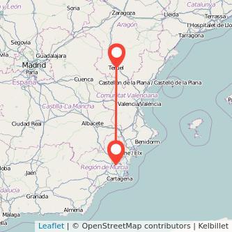 Mapa del viaje Teruel Murcia en bus