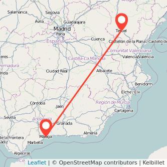 Mapa del viaje Teruel Málaga en bus