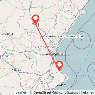 Mapa del viaje Teruel Gandia en bus