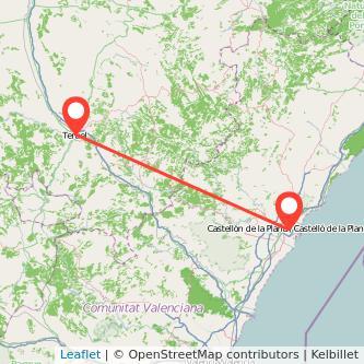 Mapa del viaje Teruel Castellón en bus