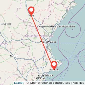 Mapa del viaje Teruel Benidorm en bus