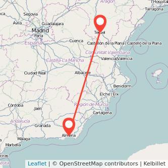 Mapa del viaje Teruel Almería en bus
