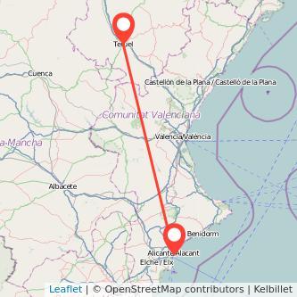 Mapa del viaje Teruel Alicante en bus