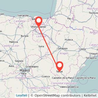 Mapa del viaje Teruel Vitoria-Gasteiz en bus