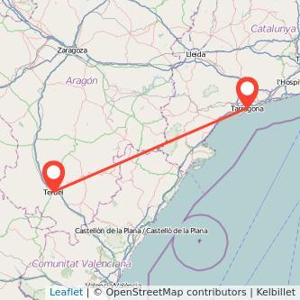 Mapa del viaje Teruel Tarragona en bus