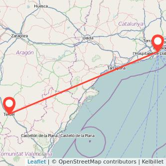 Mapa del viaje Teruel Barcelona en bus