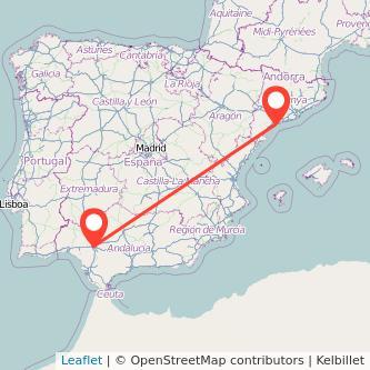 Mapa del viaje Tarragona Sevilla en bus