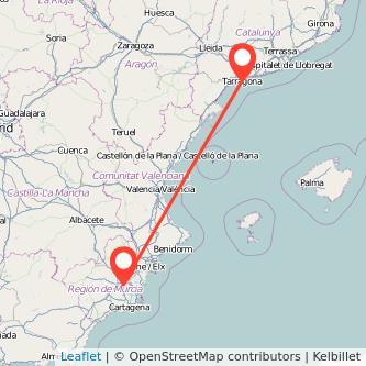Mapa del viaje Tarragona Murcia en tren