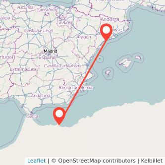 Mapa del viaje Tarragona Melilla en bus