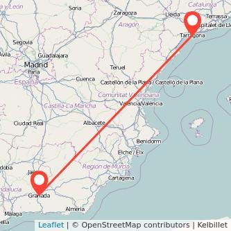 Mapa del viaje Tarragona Granada en tren