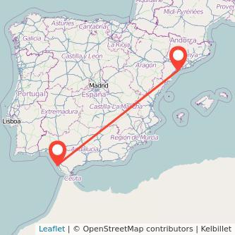 Mapa del viaje Tarragona Cádiz en bus
