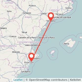 Mapa del viaje Tarragona Alicante en tren