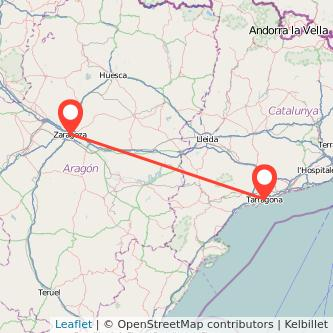 Mapa del viaje Tarragona Zaragoza en bus