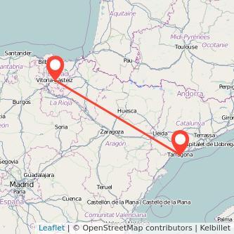 Mapa del viaje Tarragona Vitoria-Gasteiz en tren