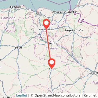 Mapa del viaje Soria Vitoria-Gasteiz en bus