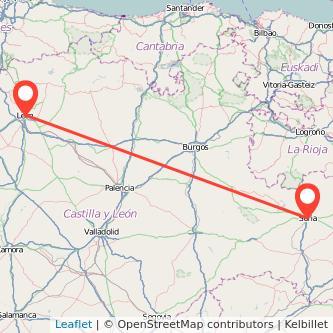 Mapa del viaje Soria León en bus